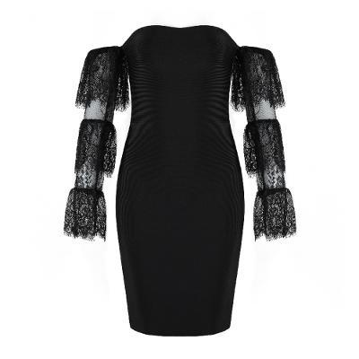 off shoulder bandage dress black